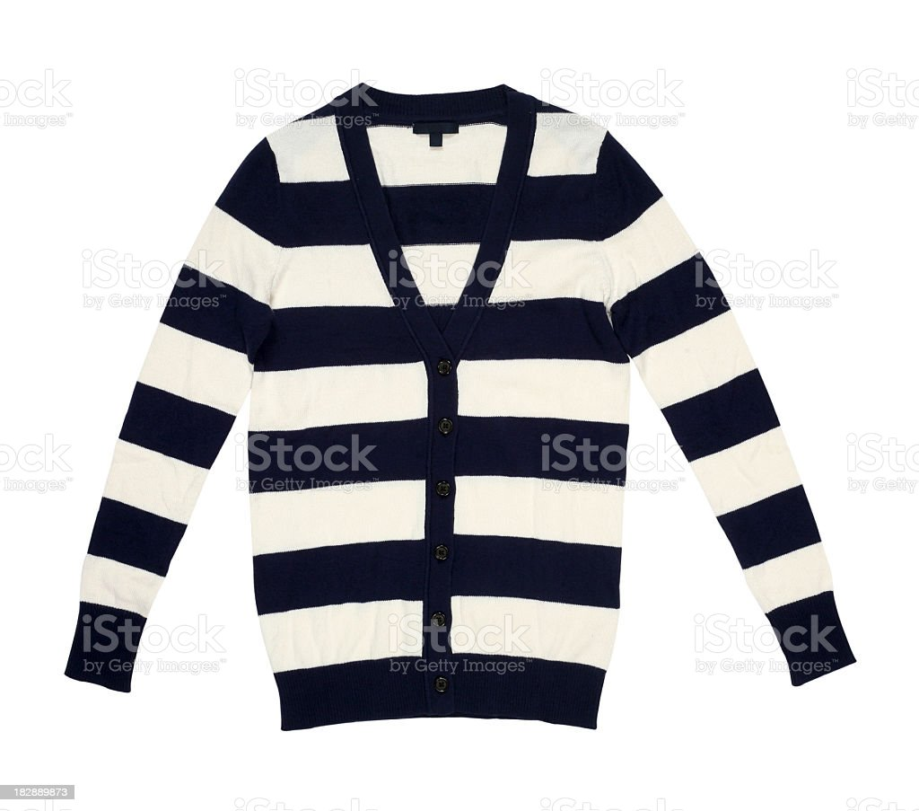 X-ray of a black and white striped cardigan royalty-free stock photo