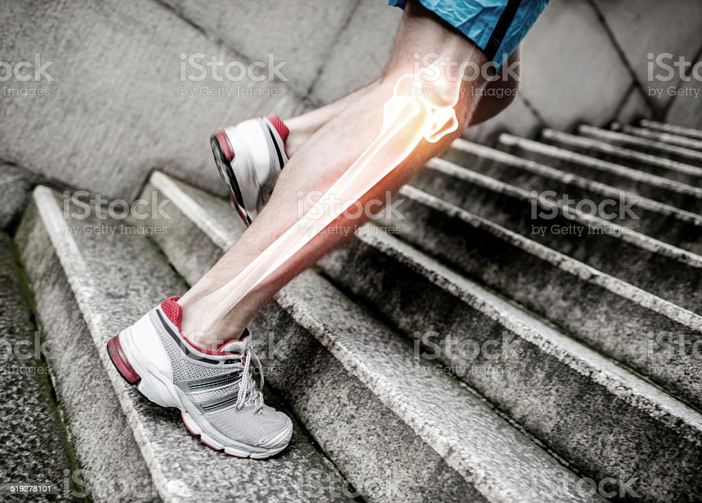 X-Ray of a man running stock photo