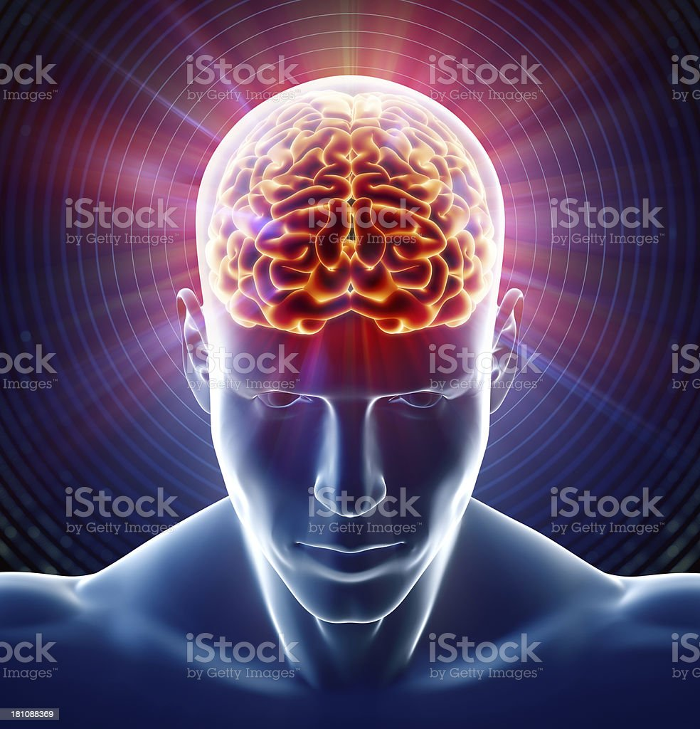 Xray of brain in head stock photo