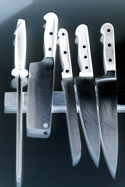 X-Ray Of Different Type Of Knives stock photo