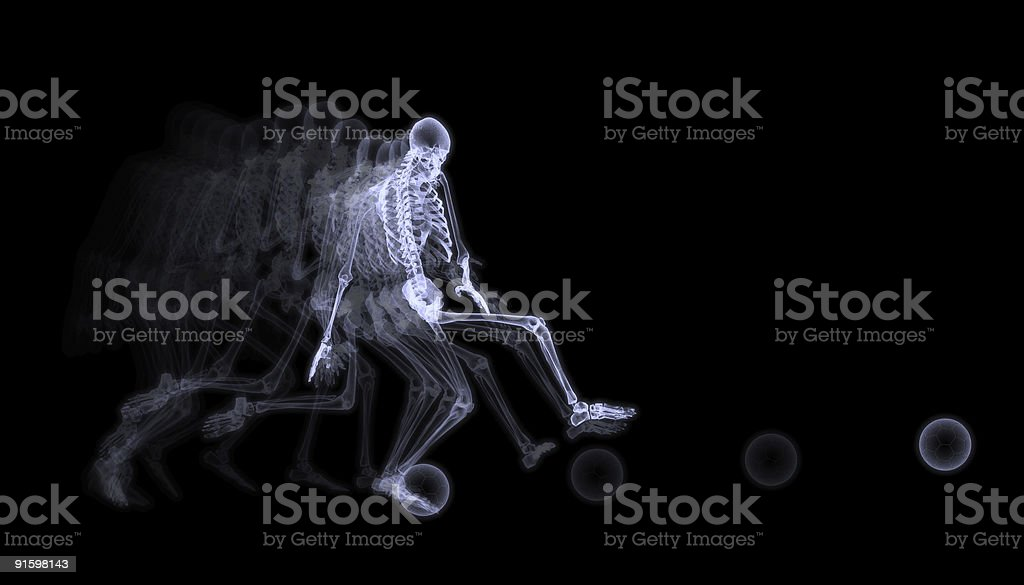 Xray Of Human Skeleton Playing Soccer royalty-free stock photo