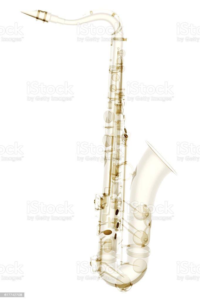 X-ray saxophone isolated stock photo