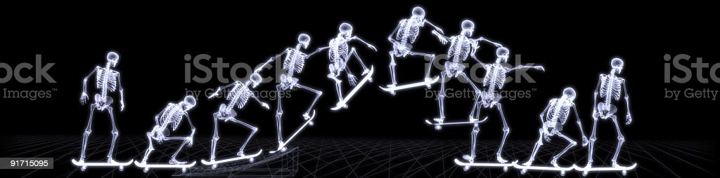 Xray sequence of a skeleton jumping with skateboard royalty-free stock photo