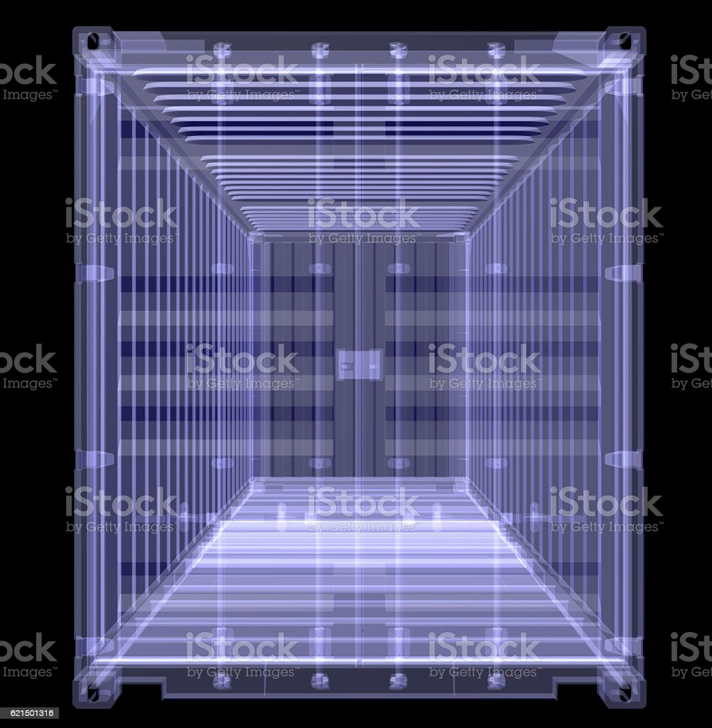 X-ray shipping container isolated on black photo libre de droits