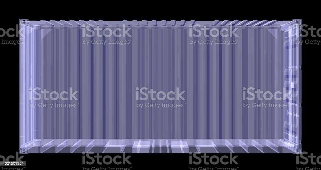 X-ray shipping container isolated on black foto stock royalty-free