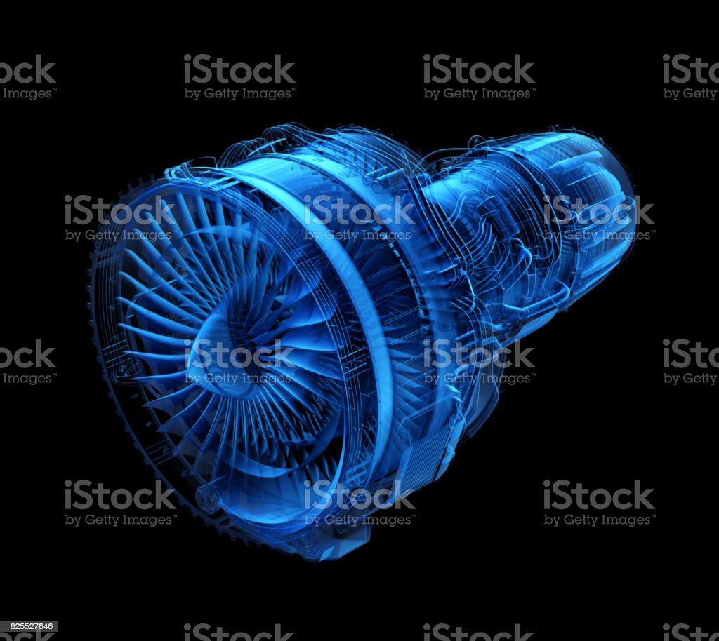 X-ray style turboréacteur jet isolée sur fond noir photo libre de droits