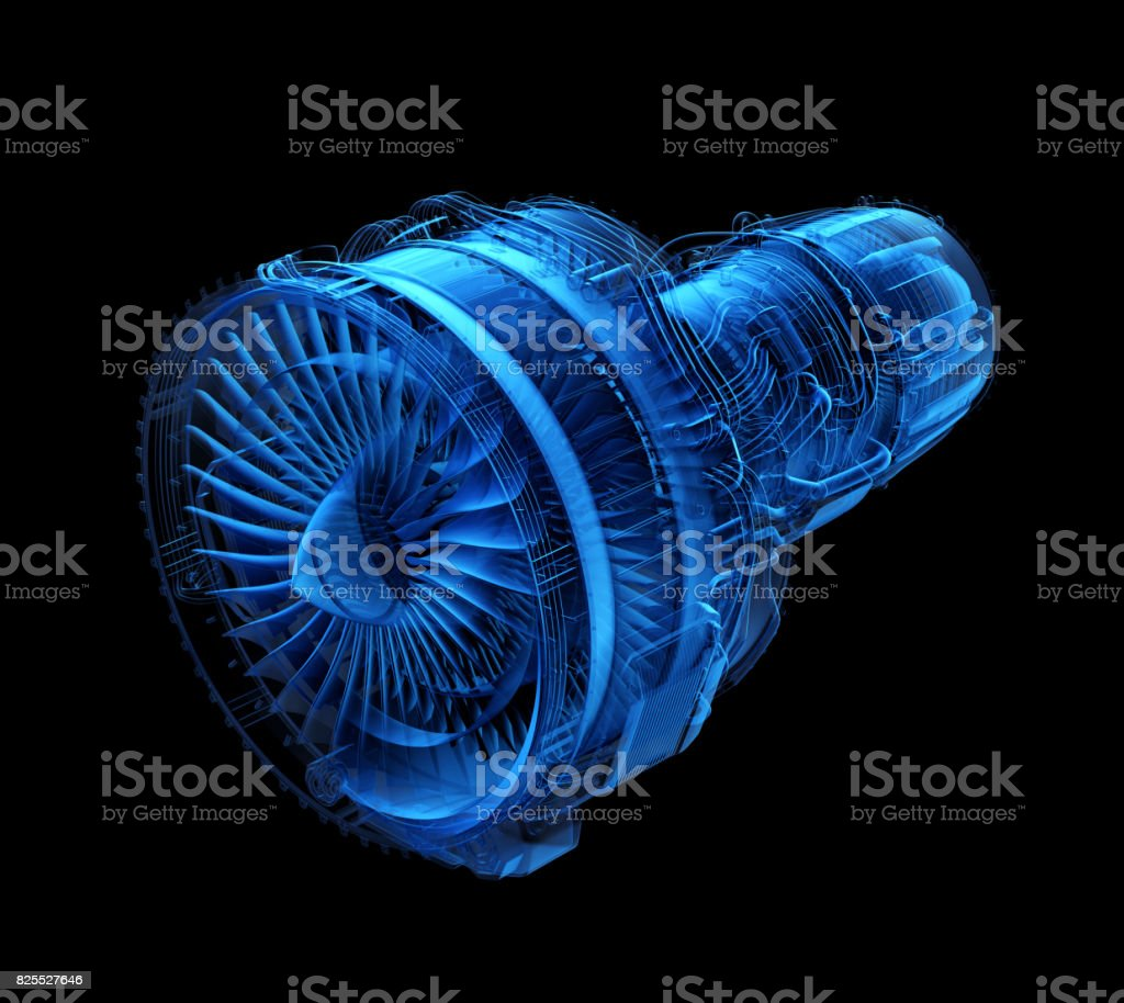 X-ray style turbofan jet engine isolated on black background stock photo