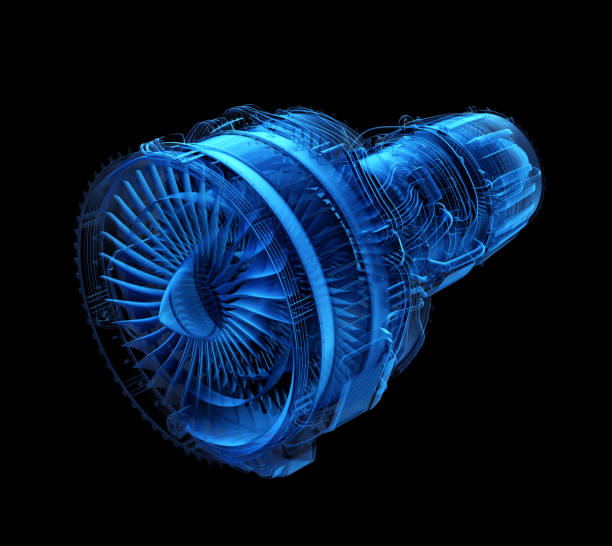 X-ray style turbofan jet engine isolated on black background X-ray style turbofan jet engine isolated on black background. 3D rendering image. turbine stock pictures, royalty-free photos & images