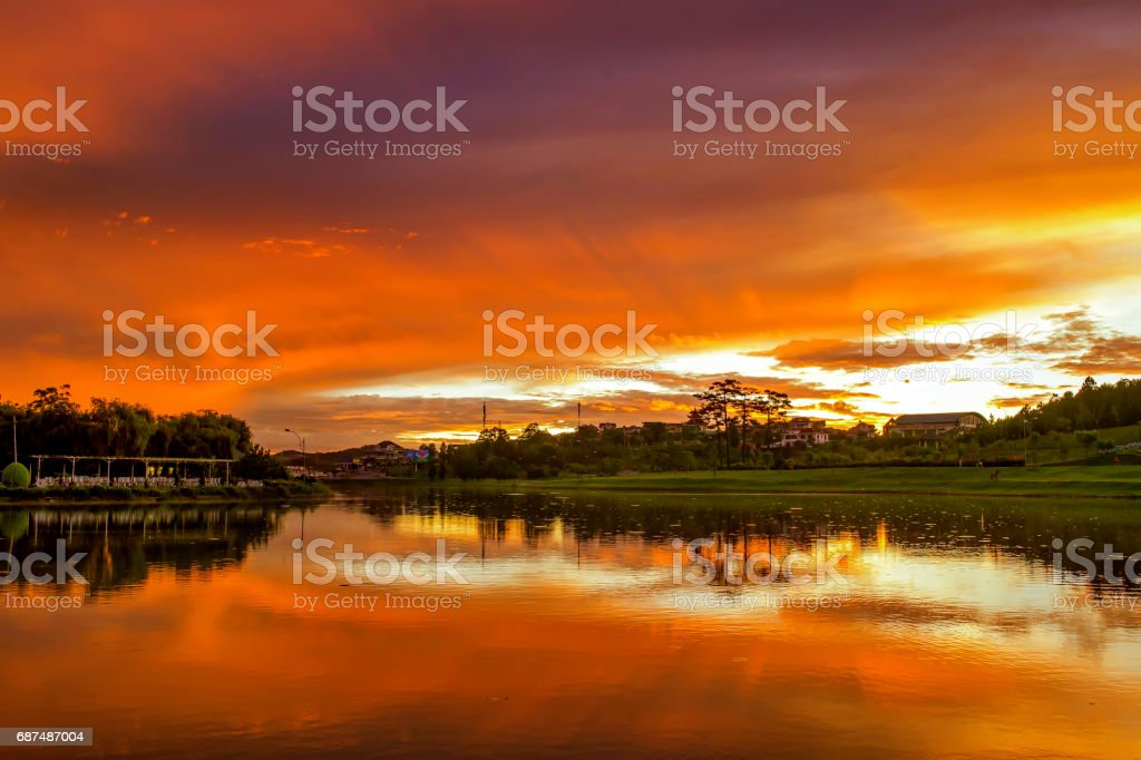 Xuan Huong lake (Da Lat city, Lam Dong province, Vietnam) stock photo