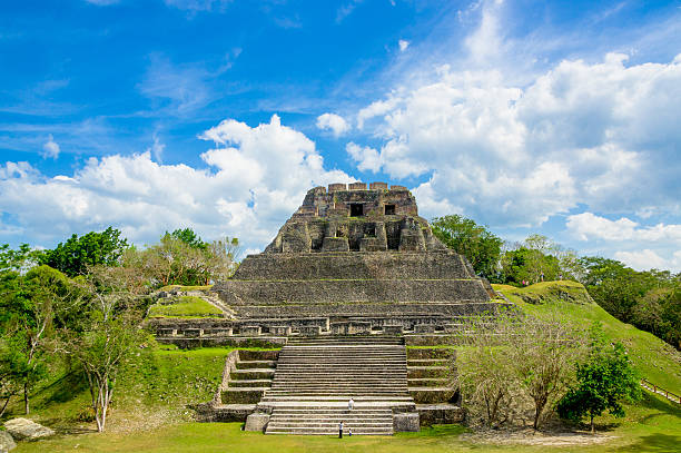 xunantunich maya site ruins in belize stock photo