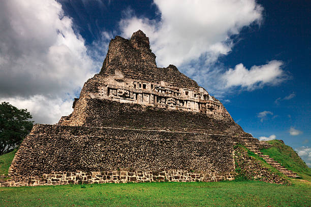 Xunantunich Pyramid Belize stock photo