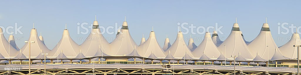 XXXLarge Panoramic of Denver International Airport at Dawn stock photo