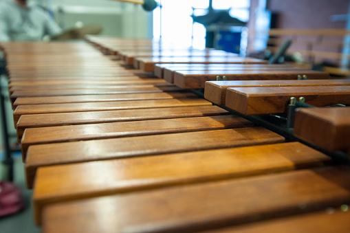 Xylophone, marimba or mallet player with sticks,