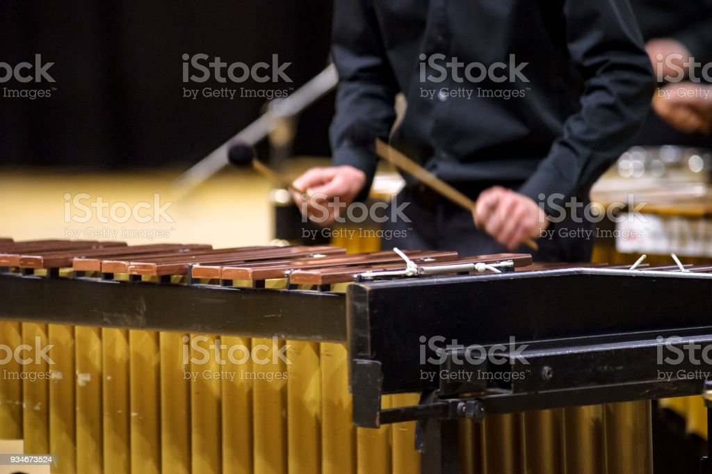 Xylophone or mallet player with sticks stock photo