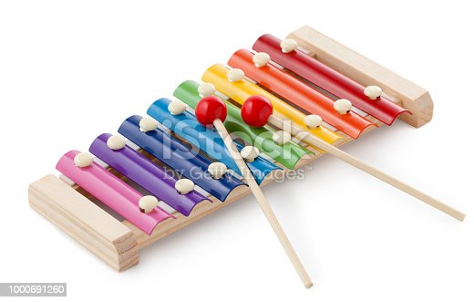 Toy xylophone on white background.
