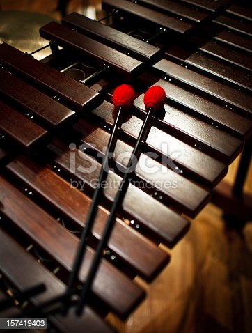 detail of a xylophone, musical instrument in the percussion family