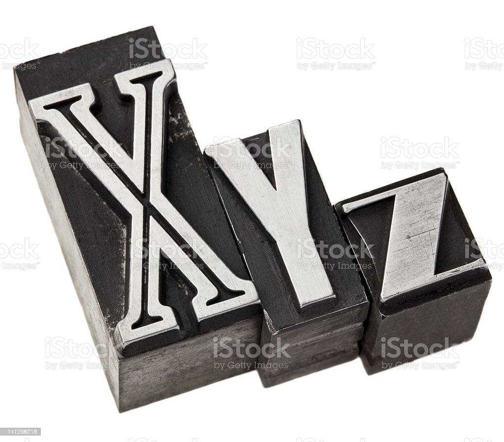 xyz letters in metal type royalty-free stock photo