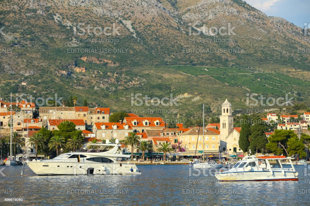 Yacht anchored at Cavtat seaside stock photo