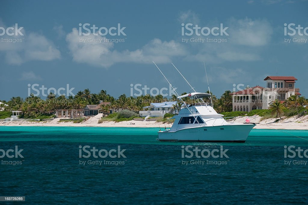 Yacht anchored in Cove stock photo
