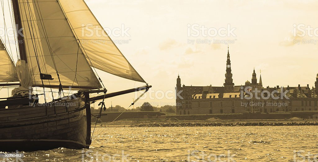 Yacht and Castle in Sepia stock photo
