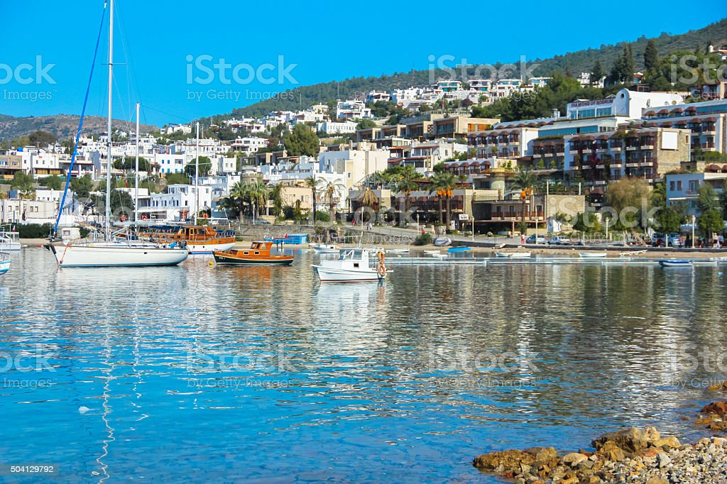 BODRUM, TURKEY - December  2014: Yacht and sailing vessels stock photo