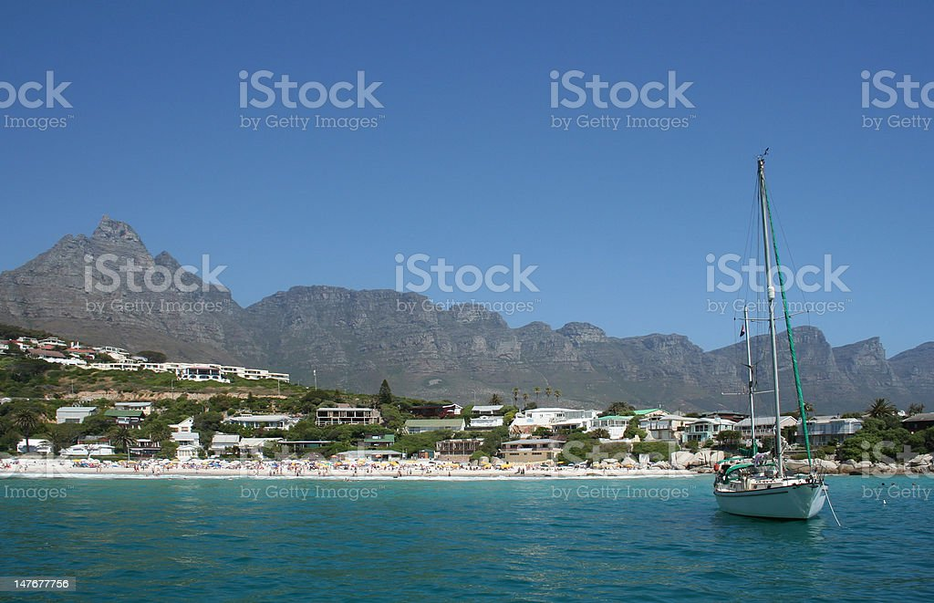 Yacht at Clifton Beach, Cape Town - Royalty-free Atlantic Ocean Stock Photo