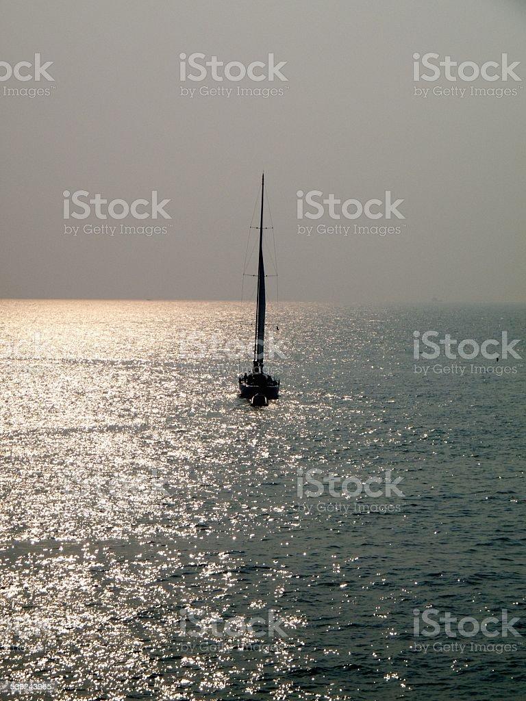 Yacht at Po Toi royalty-free stock photo