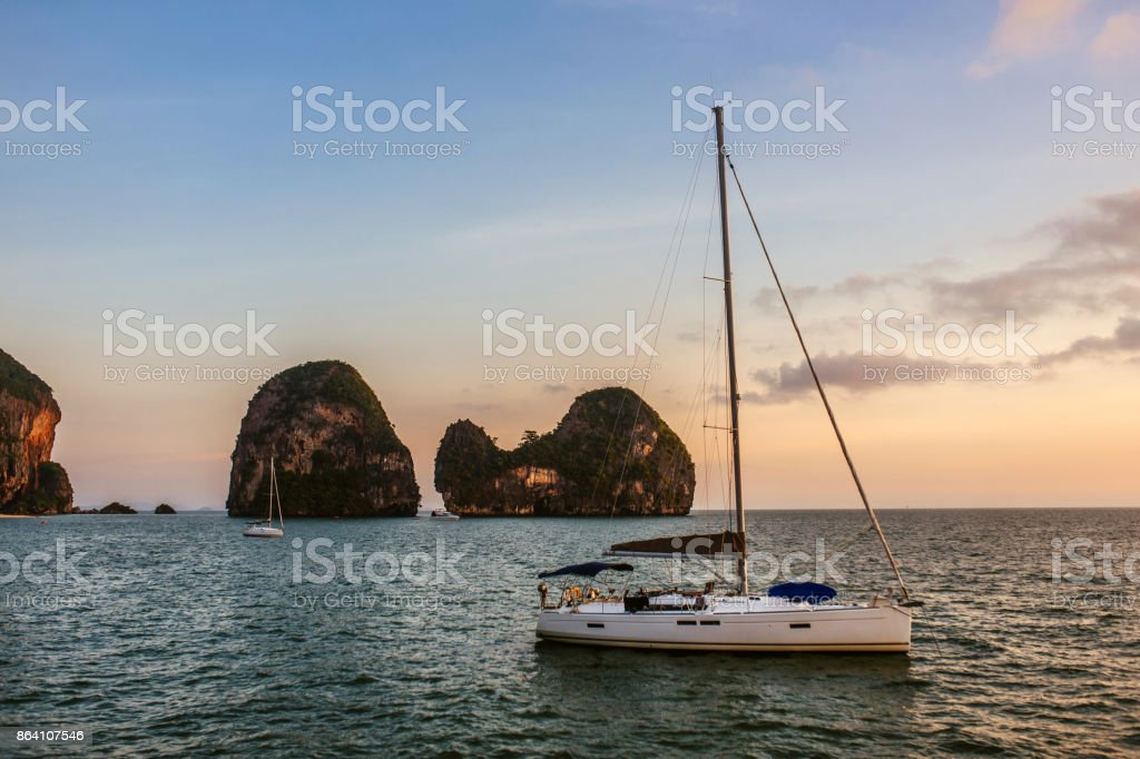 Yacht at sunset. royalty-free stock photo