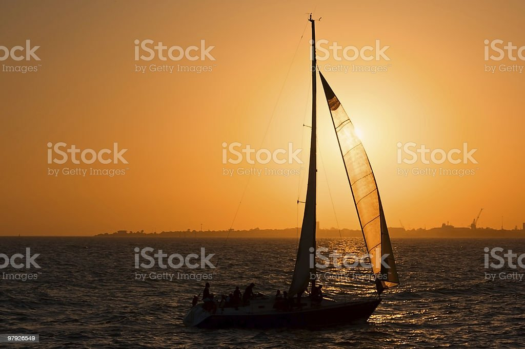 Yacht at Sunset royalty-free stock photo