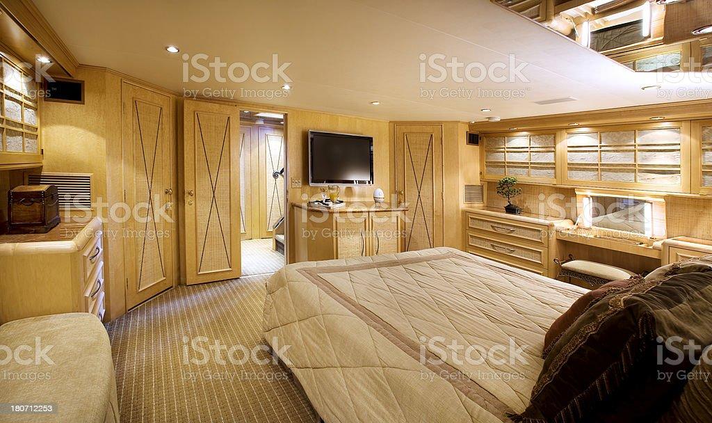 yacht bedroom interior stock photo
