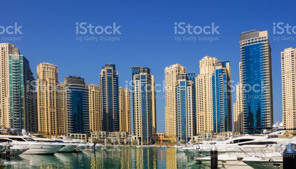 Yacht Club in Dubai Marina. UAE. November 16, 2012 stock photo