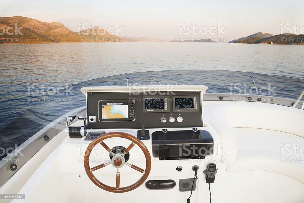 Yacht cockpit stock photo