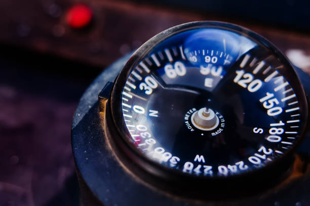 yacht compass on a small old ship stock photo