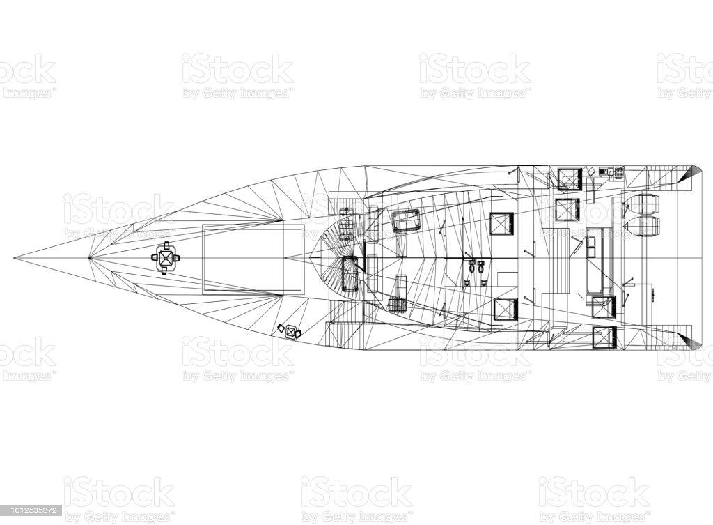 Yacht-Konzept Architekt Blueprint - isoliert – Foto