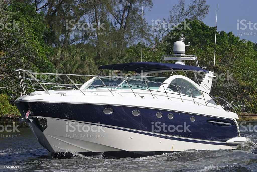 Yacht Crusing On Waterway stock photo