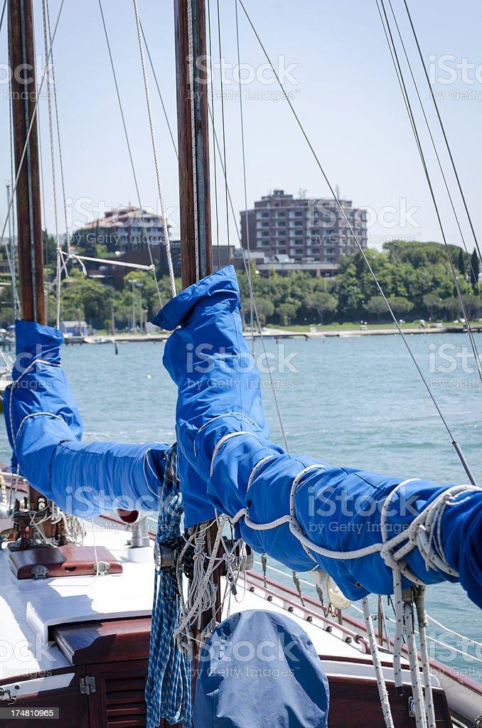 Yacht Detail and Hotel Casino Portoroz Slovenia royalty-free stock photo