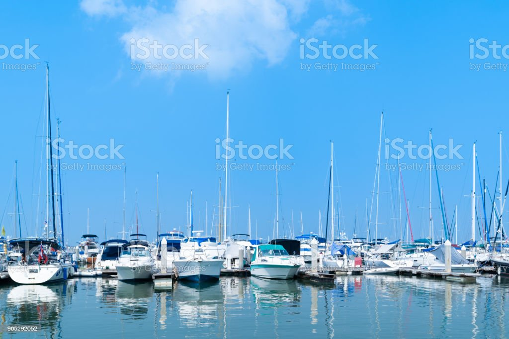 Yacht harbor on blue sky sunset light background. zbiór zdjęć royalty-free