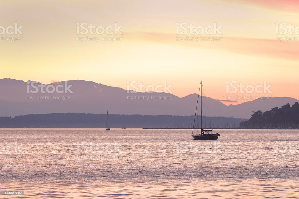 Yacht in Golden Sunset royalty-free stock photo