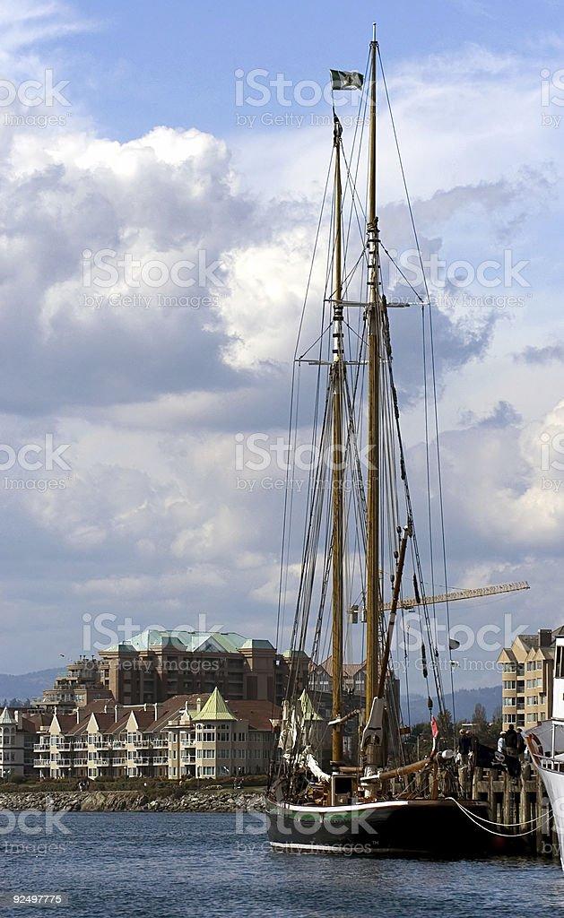 Yacht in harbor royalty-free stock photo