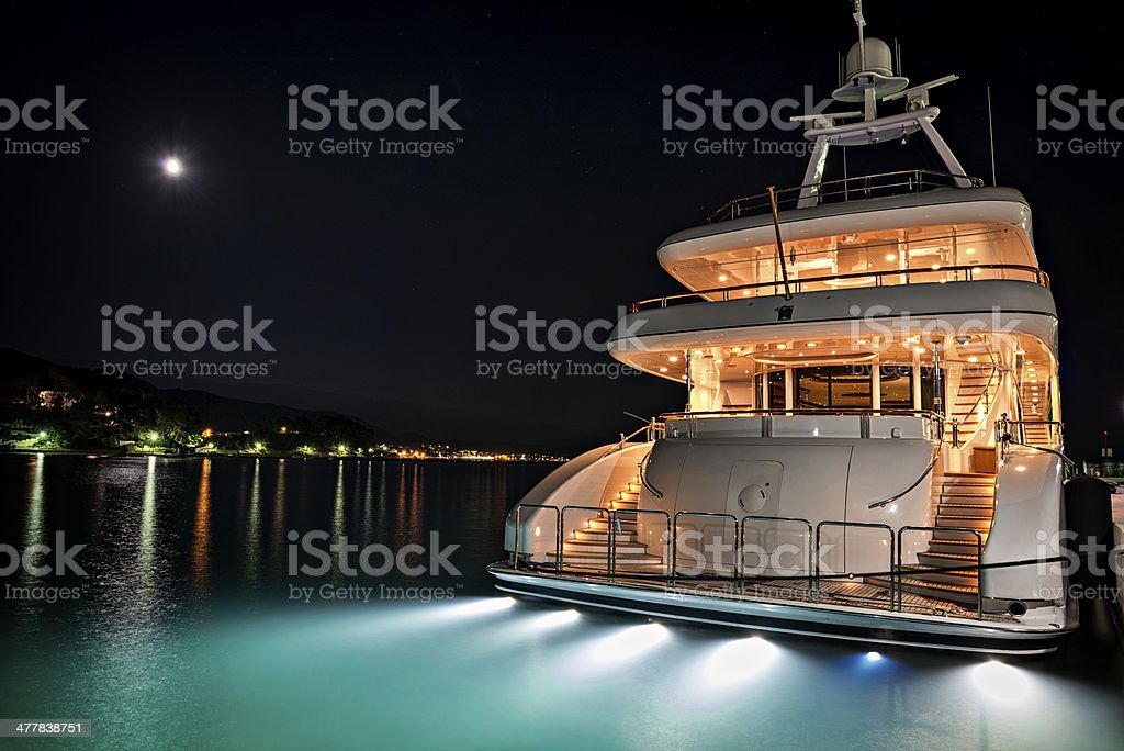 Yacht in marina stock photo