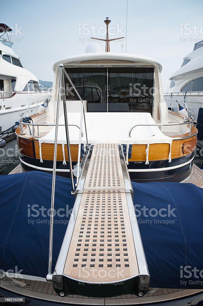 Yacht in marina Punat stock photo