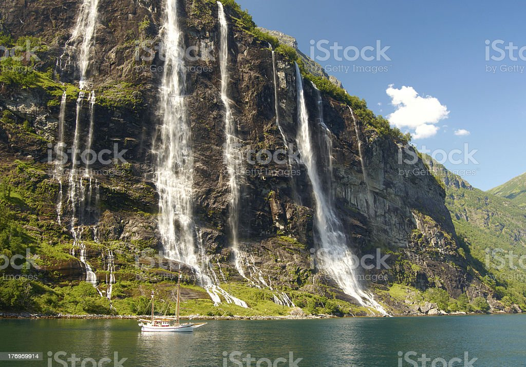 Yacht in Norwegian fjord stock photo