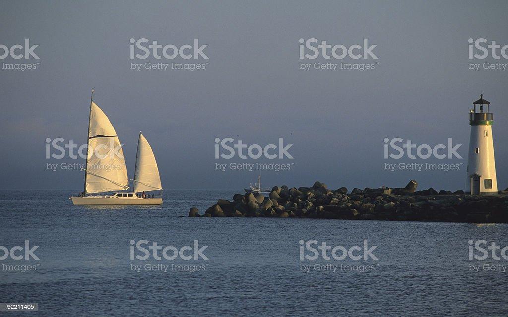 Yacht in Santa Cruz stock photo
