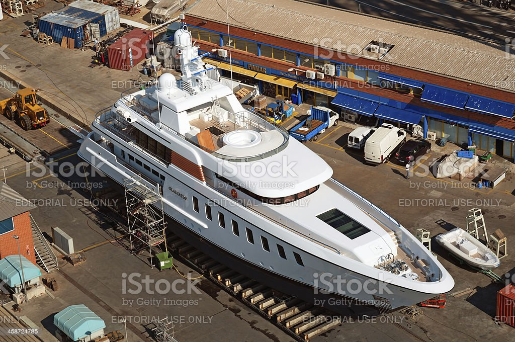 Yacht in the dry dock stock photo