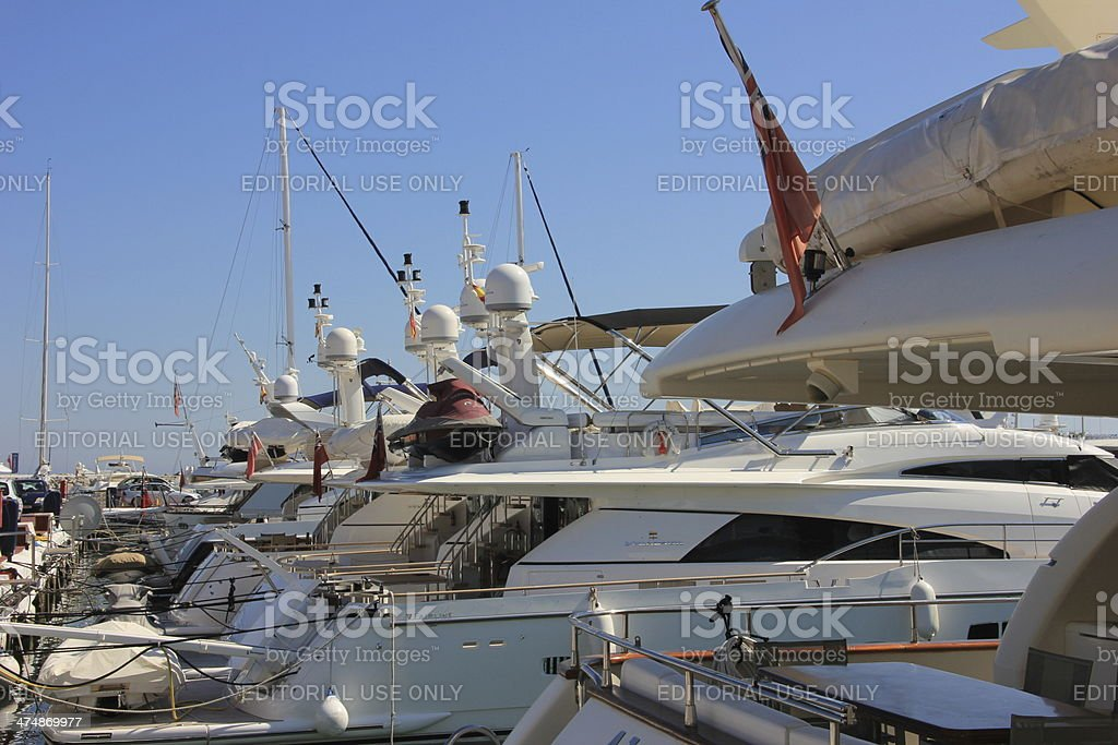 Yacht in the harbor of Marbella royalty-free stock photo