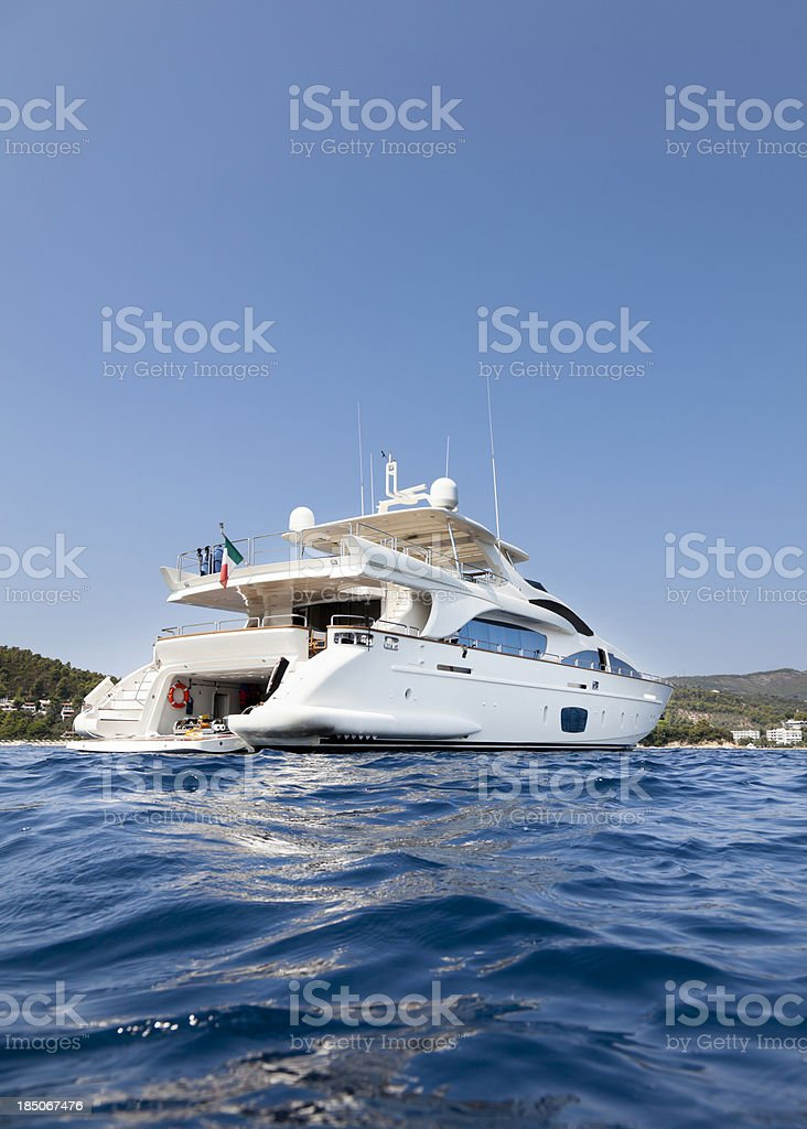 Yacht in the Islands. Summer. stock photo