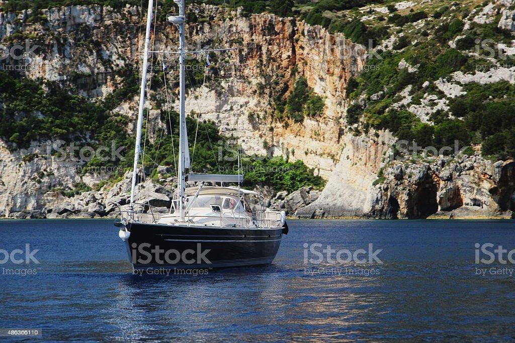 Yacht in the mediterranean sea stock photo