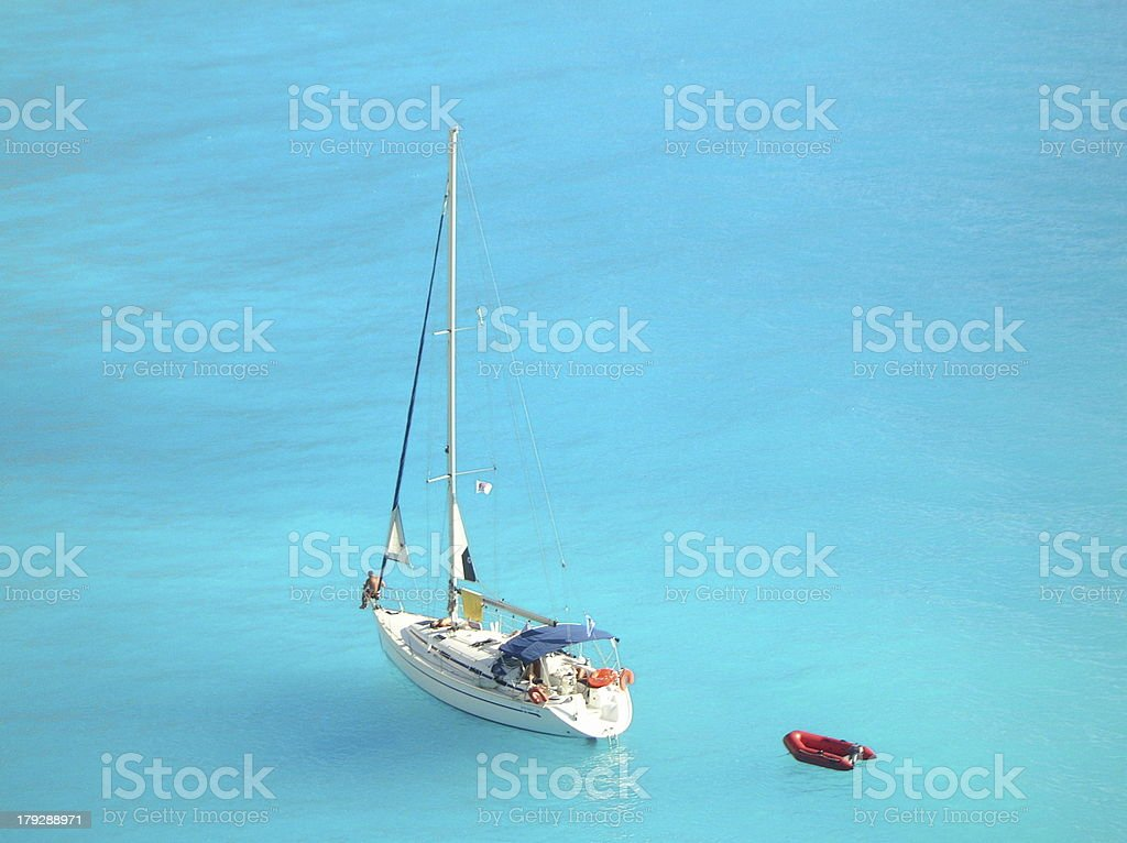 yacht in the middle of ionian sea royalty-free stock photo