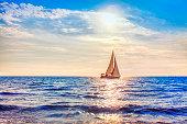 modern yacht sailing and sun shining