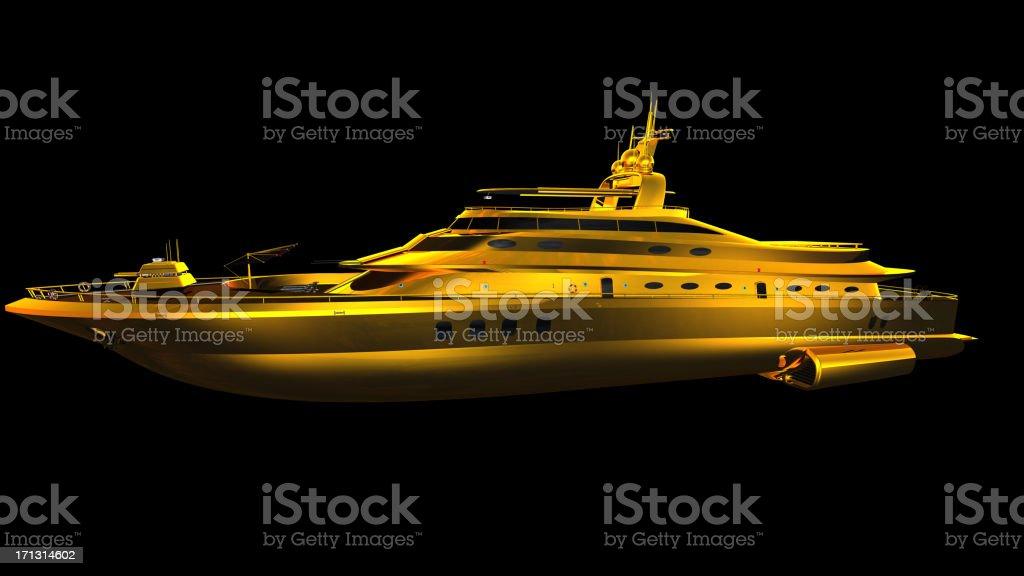 Yacht aus gold - Lizenzfrei Entspannung Stock-Foto